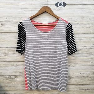 12pm by Mon Ami Coral, Black & Gray Striped Top